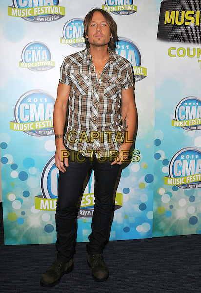 Keith Urban.2011 CMA Music Festival Nightly Press Conference held at LP Field. Nashville, Tennessee, USA..10th June 2011.full length jeans denim shirt white brown check stubble facial hair .CAP/ADM/GS.©George Shepherd/AdMedia/Capital Pictures.