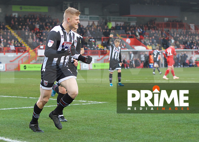 Elliott Whitehouse of Grimsby Town celebrates after scoring the equaliser during the Sky Bet League 2 match between Crawley Town and Grimsby Town at The People's Pension Stadium, Crawley, England on 25 January 2020. Photo by Alan  Stanford / PRiME Media Images.