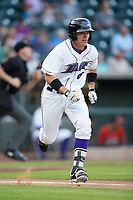 Alex Call (6) of the Winston-Salem Dash hustles down the first base line against the Buies Creek Astros at BB&T Ballpark on April 13, 2017 in Winston-Salem, North Carolina.  The Dash defeated the Astros 7-1.  (Brian Westerholt/Four Seam Images)