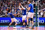 06.12.2018, ZF Arena, Friedrichshafen<br />Volleyball, Bundesliga MŠnner / Maenner, Normalrunde VfB Friedrichshafen vs. SWD powervolleys DŸren / Dueren<br /><br />Jubel Athanasios Protopsaltis (#7 Friedrichshafen), David Sossenheimer (#5 Friedrichshafen), Jakob GŸnthšr / Guenthoer (#12 Friedrichshafen)<br /><br />  Foto &copy; nordphoto / Kurth