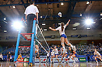 BROOKINGS, SD - SEPTEMBER 30:  Kacey Herrmann #3 from South Dakota State winds up for a kill against North Dakota State in the first game of their match Tuesday night at Frost Arena in Brookings. (Photo/Dave Eggen/Inertia)