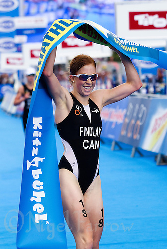 15 AUG 2010 - KITZBUEHEL, AUT - Paula Findlay celebrates victory at the womens ITU World Championship Series triathlon .(PHOTO (C) NIGEL FARROW)