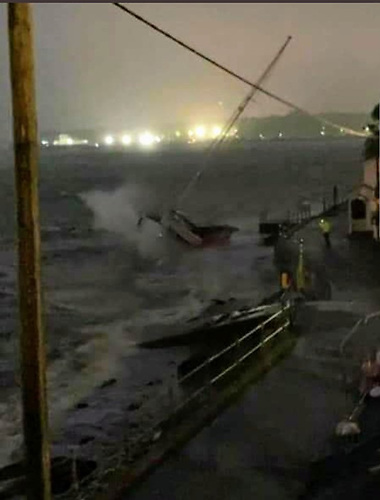 A boat battered by Storm Ellen in Cork Harbour Photo: via Twitter