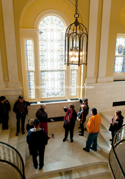 WATERBURY, CT, 18 DECEMBER 2010-121810JS11--Guests take a tour during the open house of the newly renovated Waterbury City Hall on Saturday. The event was the first public tour since the start of the $35.9 million upgrade. <br />  Jim Shannon Republican-American