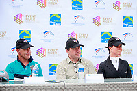 The Interim Leaders: 1st: GER-Bettina Hoy (Seigneur Medicott); 2nd: AUS-Andrew Hoy (Cheeky Calimbo), with ERM Chief Executive, Chris Stone, during the CIC3* ERM Dressage Press  Conference. 2017 FRA-Haras de Jardy International Eventing Show. Versailles, France. Saturdy 15 July. Copyright Photo: Libby Law Photography