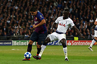 Davinson Sanchez of Tottenham Hotspur and Luis Suarez of FC Barcelona during Tottenham Hotspur vs FC Barcelona, UEFA Champions League Football at Wembley Stadium on 3rd October 2018