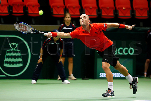 16.09.2016. Ostend Belgium. Davis Cup international tennis. Belgium versus Brazil.   Steve Darcis (Bel) plays Thomas Bellucci (Bra)