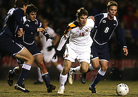 Patrick Mullins #15 of the University of Maryland gets the ball from Drew Cost #8 of Penn State during an NCAA 3rd. round match at Ludwig Field, University of Maryland, College Park, Maryland on November 28 2010.Maryland won 1-0.