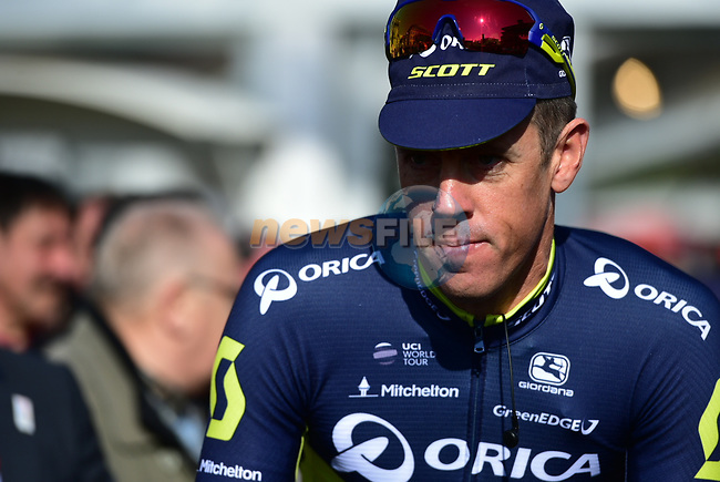 Last year's winner Mathew Hayman (AUS) Orica-Scott at sign on for the 115th edition of the Paris-Roubaix 2017 race running 257km Compiegne to Roubaix, France. 9th April 2017.<br /> Picture: ASO/P.Ballet | Cyclefile<br /> <br /> <br /> All photos usage must carry mandatory copyright credit (&copy; Cyclefile | ASO/P.Ballet)