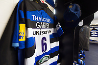 A general view of Matt Garvey's jersey hung up in the Bath Rugby changing rooms. Aviva Premiership match, between Bath Rugby and Saracens on September 9, 2017 at the Recreation Ground in Bath, England. Photo by: Patrick Khachfe / Onside Images