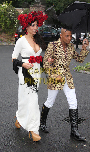 SOFIA HAYAT & LOUIS MARIETTE .Polo In The Park at the Hurlingham Club, London, England, UK,.June 5th 2009.full length umbrella red  roses flowers hat white dress long maxi beige platform shoes quilted boots knee high leopard print jacket sophia hayatt.CAP/ROS.©Steve Ross/Capital Pictures
