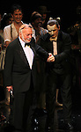 Hal Prince, Kyle Barisich & Hugh Panaro during the 'Phantom of the Opera' - 25 Years on Broadway Gala Performance Curtain Call Celebration at the Majestic Theatre in New York City on 1/26/2013