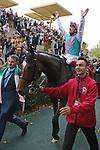 October 07, 2018, Longchamp, FRANCE - Enable and Frankie Dettori up after winning the Qatar Prix de l'Arc de Triomphe (Gr. I) at  ParisLongchamp Race Course  [Copyright (c) Sandra Scherning/Eclipse Sportswire)]