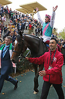 October 07, 2018, Longchamp, FRANCE - Enable and Frankie Dettori up after winning the Qatar Prix de l'Arc de Triomphe (Gr. I) at  ParisLongchamp Race Course  [Copyright (c) Sandra Scherning/Eclipse Sportswire)]