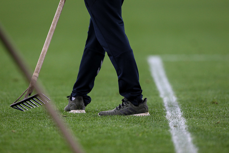 A groundsman prepares the playing surface<br /> <br /> Photographer Alex Dodd/CameraSport<br /> <br /> The EFL Sky Bet Championship - Middlesbrough v Preston North End - Tuesday 1st October 2019  - Riverside Stadium - Middlesbrough<br /> <br /> World Copyright © 2019 CameraSport. All rights reserved. 43 Linden Ave. Countesthorpe. Leicester. England. LE8 5PG - Tel: +44 (0) 116 277 4147 - admin@camerasport.com - www.camerasport.com