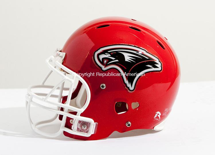 WATERBURY CT, 14 OCTOBER 2010-101410JS12-Wolcott High School football helmet.<br />  Jim Shannon Republican-American