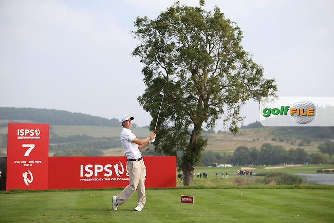 Welsh amateur golfer Evan Griffiths from Clwb Golff Conwy during Round One of the ISPS Handa Wales Open 2014 from the Celtic Manor Resort, Newport, South Wales. Picture:  David Lloyd / www.golffile.ie