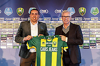 2nd January 2020, The Hague, Holland;  ADO Den Haag Managing Director Mohammed Hamdi and ADO Den Haag new coach Alan Pardew with ADO shirt during the presentation