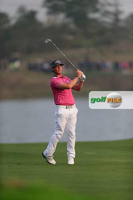 Kristoffer Broberg (SWE) on the 18th fairway during Round 4 of the BMW Masters at Lake Malaren Golf Club in Boshan, Shanghai, China on Sunday 15/11/15.<br /> Picture: Thos Caffrey | Golffile<br /> <br /> All photo usage must carry mandatory copyright credit (&copy; Golffile | Thos Caffrey)