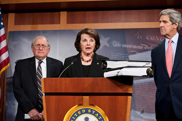 WASHINGTON, DC- Dec. 15: Senate Armed Services Chairman Carl Levin, D-Mich., Senate Select Intelligence Chairwoman Dianne Feinstein, D-Calif., and Senate Foreign Relations Chairman John Kerry, D-Mass., during a news conference on the START nuclear arms treaty (Treaty Doc 111-5) with Russia. (Photo by Scott J. Ferrell/Congressional Quarterly)