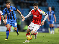 Fleetwood Town's Ched Evans competing with Gillingham's Darren Oldaker<br /> <br /> Photographer Andrew Kearns/CameraSport<br /> <br /> The EFL Sky Bet League One - Gillingham v Fleetwood Town - Saturday 3rd November 2018 - Priestfield Stadium - Gillingham<br /> <br /> World Copyright &copy; 2018 CameraSport. All rights reserved. 43 Linden Ave. Countesthorpe. Leicester. England. LE8 5PG - Tel: +44 (0) 116 277 4147 - admin@camerasport.com - www.camerasport.com
