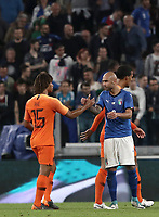 International friendly football match Italy vs The Netherlands, Allianz Stadium, Turin, Italy, June 4, 2018. <br /> Italy's Simone Zaza (r) greets Netherlands' Nathan Aké (l) at the end of the international friendly football match between Italy and The Netherlands at the Allianz Stadium in Turin on June 4, 2018.<br /> Italy and The Netherlands drawns 1-1.<br /> UPDATE IMAGES PRESS/Isabella Bonotto