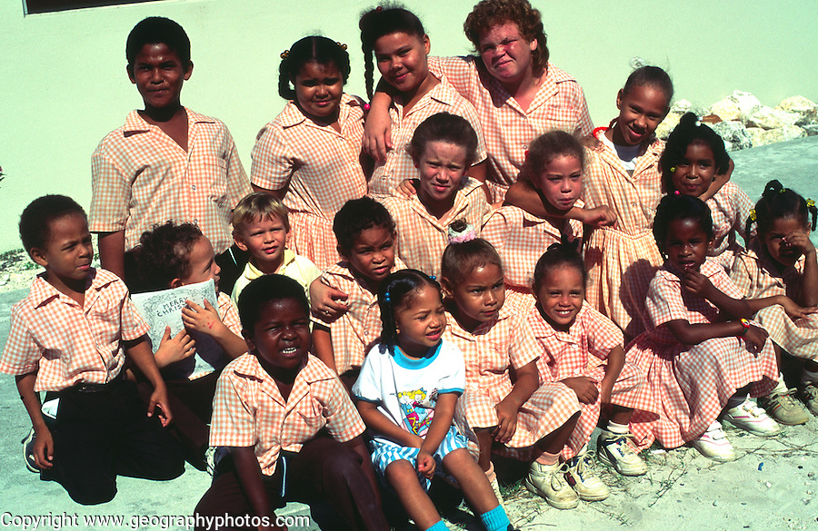 Children in school uniform, Cayman Brac, Cayman Islands, British West Indies,