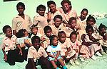 Children in school uniform, Cayman Brac, Cayman Islands, British West Indies,