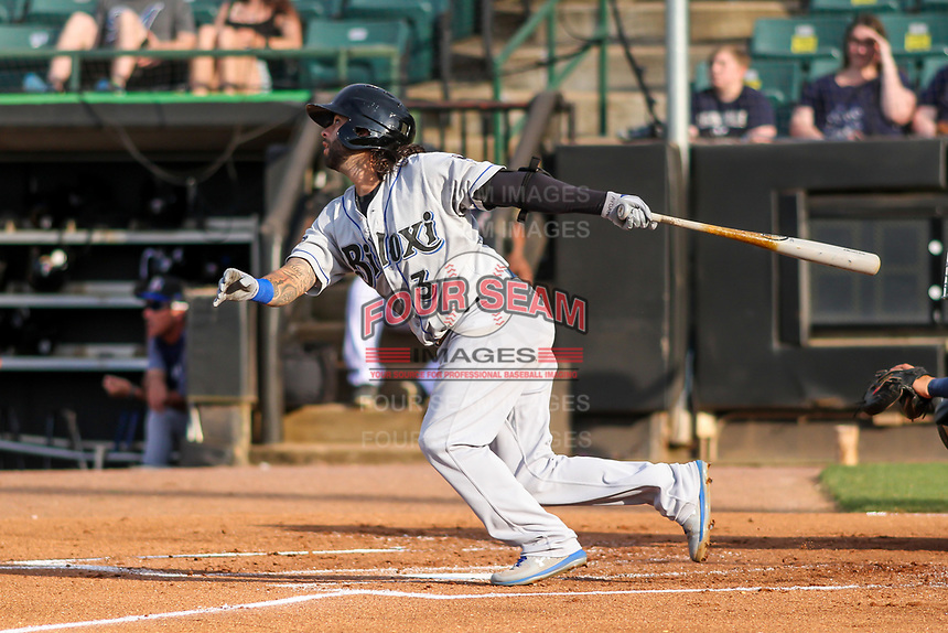 Biloxi Shuckers second baseman C.J. Hinojosa (3) swings at a pitch during a Southern League game against the Jackson Generals on June 14, 2019 at The Ballpark at Jackson in Jackson, Tennessee. Jackson defeated Biloxi 4-3. (Brad Krause/Four Seam Images)