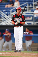 Batavia Muckdogs first baseman Eric Fisher (29) at bat during a game against the Mahoning Valley Scrappers on June 22, 2015 at Dwyer Stadium in Batavia, New York.  Mahoning Valley defeated Batavia 15-11.  (Mike Janes/Four Seam Images)