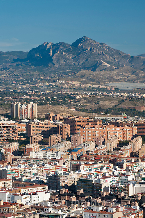 City of Alicante and Cabezon de Oro mountain, Alicante,Costa Blanca,Valencia, Spain