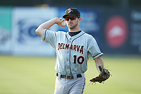 Delmarva Shorebirds second baseman Adam Hall (10) warms up in the outfield prior to the game against the Kannapolis Intimidators at Kannapolis Intimidators Stadium on June 4, 2019 in Kannapolis, North Carolina. The Intimidators defeated the Shorebirds 9-0. (Brian Westerholt/Four Seam Images)