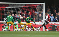Brentford's Ezri Konsa scores his side's first goal  <br /> <br /> Photographer Rob Newell/CameraSport<br /> <br /> The EFL Sky Bet Championship - Brentford v Preston North End - Sunday 5th May 2019 - Griffin Park - Brentford<br /> <br /> World Copyright © 2019 CameraSport. All rights reserved. 43 Linden Ave. Countesthorpe. Leicester. England. LE8 5PG - Tel: +44 (0) 116 277 4147 - admin@camerasport.com - www.camerasport.com
