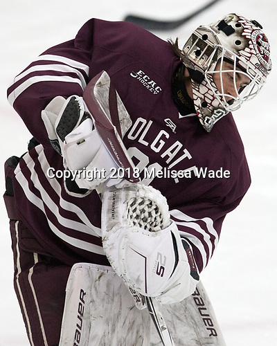 Zac Hamilton (Colgate - 31) - The visiting Colgate University Raiders shut out the Harvard University Crimson for a 2-0 win on Saturday, January 27, 2018, at Bright-Landry Hockey Center in Boston, Massachusetts.