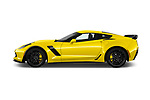 Car driver side profile view of a 2019 Chevrolet Corvette Z06 Coupe 1LZ 3 Door Targa