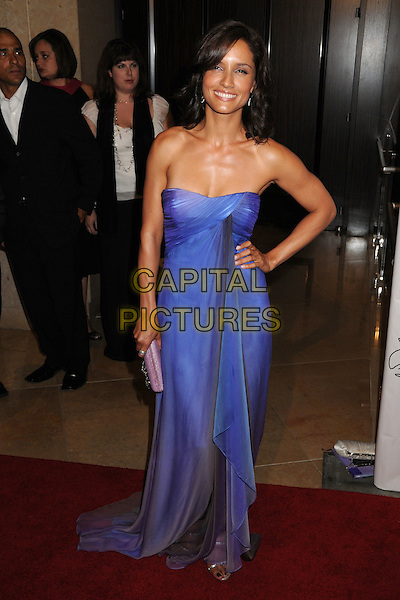 LEONOR VARELA.23rd Annual IMAGEN Awards at the Beverly Hilton Hotel, Beverly Hills, California, USA..August 21st, 2008.full length purple blue dress hand on hip strapless .CAP/ADM/BP.©Byron Purvis/AdMedia/Capital Pictures.