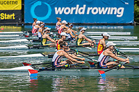 Lucerne, SWITZERLAND, 13th July 2018, Friday,USA &quot;USA LW2X&quot;., Bow, <br /> &quot;Emily SCHMIEG&quot; and &quot;Mary<br /> JONES&quot;, Start Area FISA World Cup series, No.3, Lake Rotsee, &copy; Peter SPURRIER