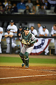 Siena Saints catcher Phil Madonna (3) looks to tag a batter to complete the out after a strike three call on a pitch in the dirt during a game against the UCF Knights on February 17, 2017 at UCF Baseball Complex in Orlando, Florida.  UCF defeated Siena 17-6.  (Mike Janes/Four Seam Images)