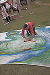 Battle of Hastings storyteller with large map, Living History event, Sutton Hoo, Suffolk, England