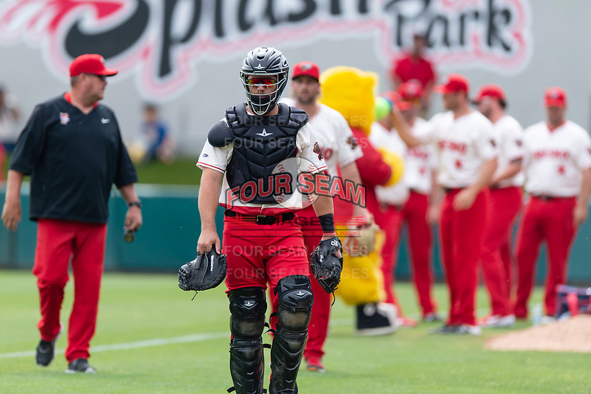 Fresno Grizzlies catcher Taylor Gushue (19) before a game against the Reno Aces at Chukchansi Park on April 8, 2019 in Fresno, California. Fresno defeated Reno 7-6. (Zachary Lucy/Four Seam Images)
