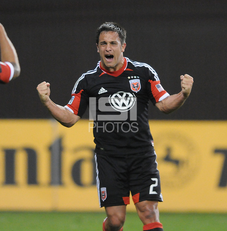 D.C. United midfielder Danny Cruz (2) celebrates his score in the 66th minute of the game. D.C. United defeated FC Dallas 4-1 at RFK Stadium, Friday March 30, 2012.