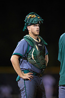 Saint Leo Lions catcher Michael Mann (16) during a game against the Northwestern Wildcats on March 4, 2016 at North Charlotte Regional Park in Port Charlotte, Florida.  Saint Leo defeated Northwestern 5-3.  (Mike Janes/Four Seam Images)