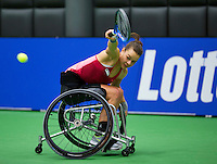 Rotterdam,Netherlands, December 17, 2015,  Topsport Centrum, Lotto NK Tennis, Wheelchair Tennis, Marjolijn Buis (NED)<br /> Photo: Tennisimages/Henk Koster