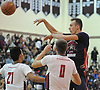 Donatas Kupsas #34 of Team Nassau (Long Island Lutheran HS) makes a pass during the Alzheimer's All-Star Basketball Classic against Team Suffolk at Bay Shore High School on Sunday, Oct. 23, 2016. Nassau won 87-82 in overtime.