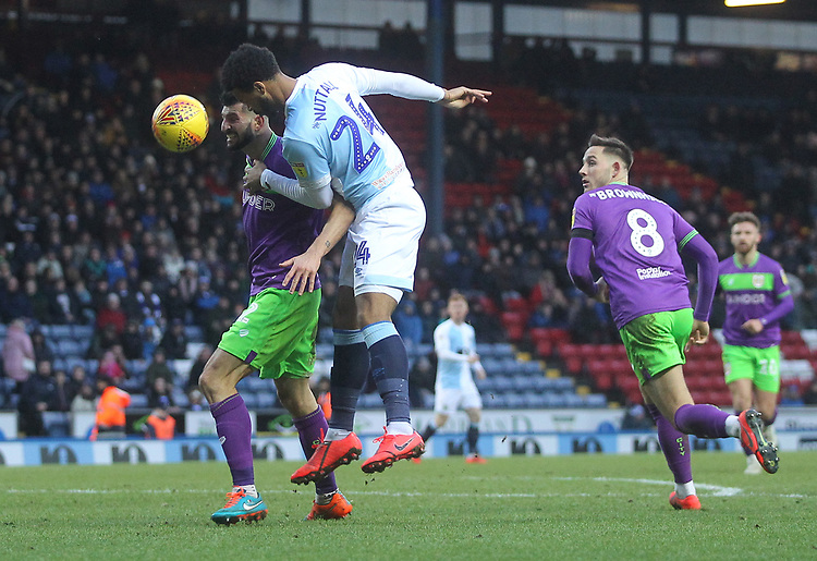 Blackburn Rovers Joe Nuttall battles with  Bristol City's Eros Pisano<br /> <br /> Photographer Mick Walker/CameraSport<br /> <br /> The EFL Sky Bet Championship - Blackburn Rovers v Bristol City - Saturday 9th February 2019 - Ewood Park - Blackburn<br /> <br /> World Copyright © 2019 CameraSport. All rights reserved. 43 Linden Ave. Countesthorpe. Leicester. England. LE8 5PG - Tel: +44 (0) 116 277 4147 - admin@camerasport.com - www.camerasport.com