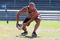 Warrior's Sam Rapira training at Carisbrook, Dunedin, New Zealand, Friday, February 20, 2013. Credit:NINZ / Dianne Manson.