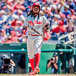 23 August 2018: Philadelphia Phillies third baseman Maikel Franco at bat against the Washington Nationals at Nationals Park in Washington, DC. The Phillies shut out the Nationals 2-0 to take the 3rd game of their 3-game mid-week divisional series. Mandatory Credit: Ed Wolfstein Photo *** RAW (NEF) Image File Available ***