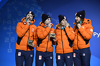 OLYMPIC GAMES: PYEONGCHANG: 21-02-2018, Medals Plaza, Victories Ceremony, Podium Relay Ladies Short Track, Team Netherlands, Bronze medalists, Suzanne Schulting, Yara van Kerkhof, Lara van Ruijven, Jorien ter Mors, ©photo Martin de Jong