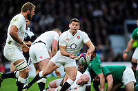 Ben Youngs of England passes the ball. RBS Six Nations match between England and Ireland on February 27, 2016 at Twickenham Stadium in London, England. Photo by: Patrick Khachfe / Onside Images