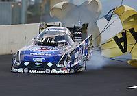 Jul. 19, 2014; Morrison, CO, USA; NHRA funny car driver Robert Hight during qualifying for the Mile High Nationals at Bandimere Speedway. Mandatory Credit: Mark J. Rebilas-